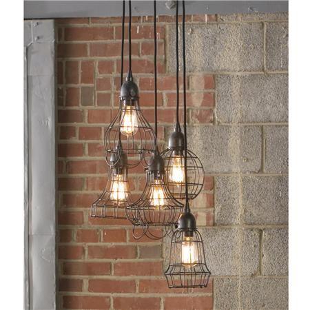Industrial cage pendant chandelier (PRB): Bathroom Design, Idea, Home Products, Lights Fixtures, Cage Lights, Industrial Lights, Industrial Style, Pendants Lights, Pendant Lights