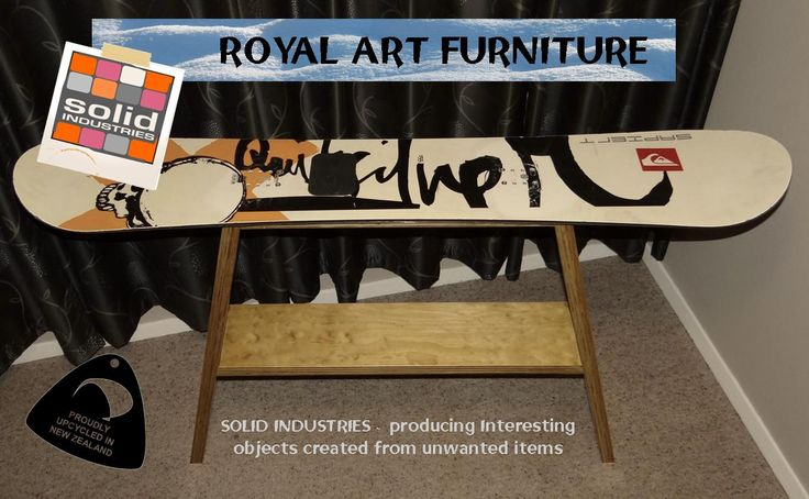 Snowboard side table. Solid Industries, royal Art furniture, upcycle
