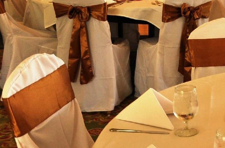 *** Available for RENT ***  160 White Banquet Chair Covers for RENT $2/per piece.  160 Golden Satin Sashes for RENT $1/set of 2 pieces.  20 Golden Satin Table Runners for RENT for $1/per piece.    Payment Cash or Check only please.    Please contact us if you would be interested.    Thank You
