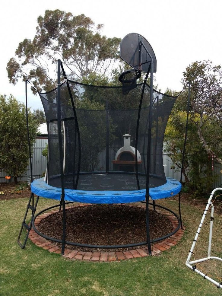 This Is The Best Thing We Have Done For The Trampoline No Need To Move The Trampoline To Mow The Lawn It Has Backyard Playground Backyard Trampoline Backyard