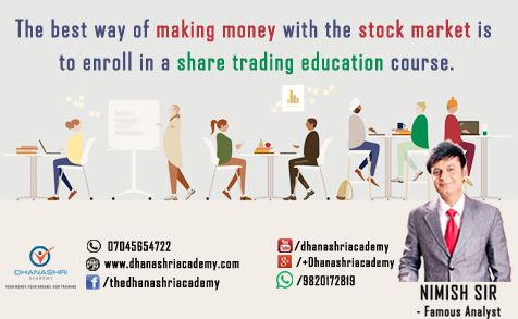 Share Trading Education with Nimish Sir- #1 Analyst The best way of making money with the stock market is to enroll in a share trading education course. Nowadays, most people have access to the Internet, there is a whole range of courses and information at our fingertips. However, jumping in without learning as much as you can is not the best way to succeed in this business, which is why taking a share trading course is so important. #sharemarket #stockmarket #money #success
