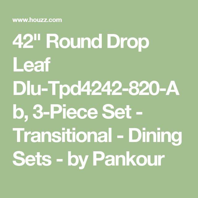 "42"" Round Drop Leaf Dlu-Tpd4242-820-Ab, 3-Piece Set - Transitional - Dining Sets - by Pankour"