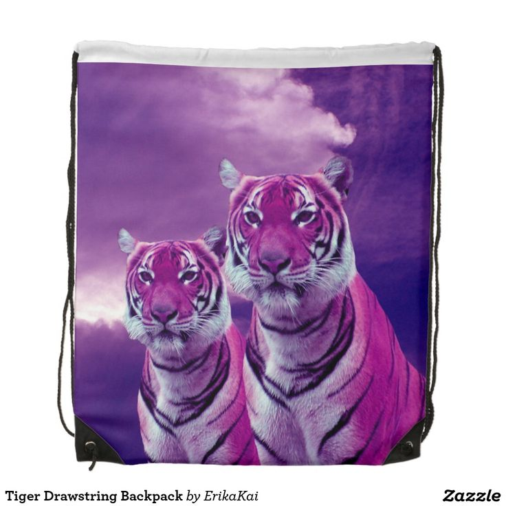 """Purple Tigers Drawstring Backpack. 100% polyester. Dimensions: 14.75"""" x 17.3""""."""