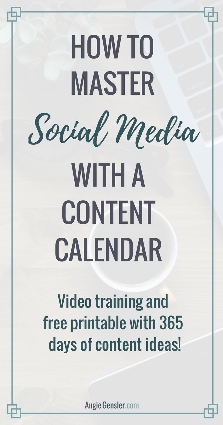 How to Master Social Media with a Content Calendar, Save Hours of Time, and Post Fresh Content Every Day of the Year! Includes free video training and printable with 365 days of social media content ideas! via @angiegensler
