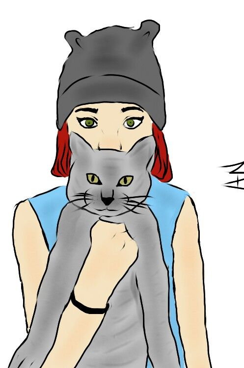 With Michelle. Cat.