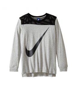 Nike Kids Sportswear Long Sleeve Graphic Top (Little Kids/Big Kids) (Dark Grey Heather/Black) Girl's Clothing