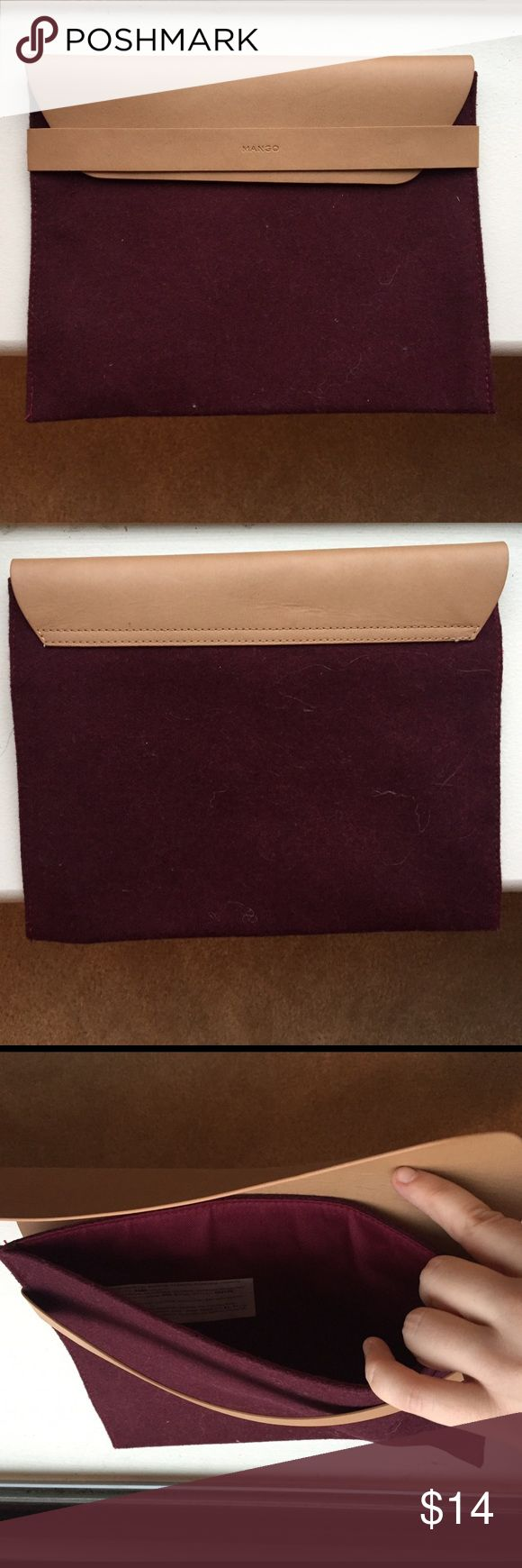MANGO Clutch in Burgundy Wool and Leather Burgundy wool MANGO clutch I picked up in France last year. Real leather folded top and 11x7.5 in size. Smoke-free home; no rips tears or stains. Mango Bags Clutches & Wristlets