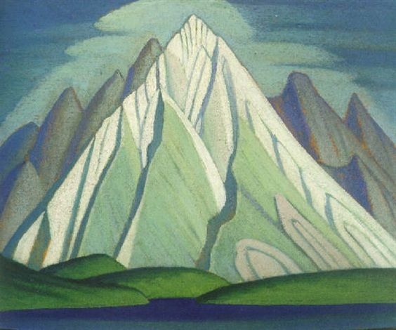 "LAWREN  HARRIS:  ""Mountain, Maligne Lake, Jasper Park,""  oil on board, 11.6 x 14.8"", private collection."