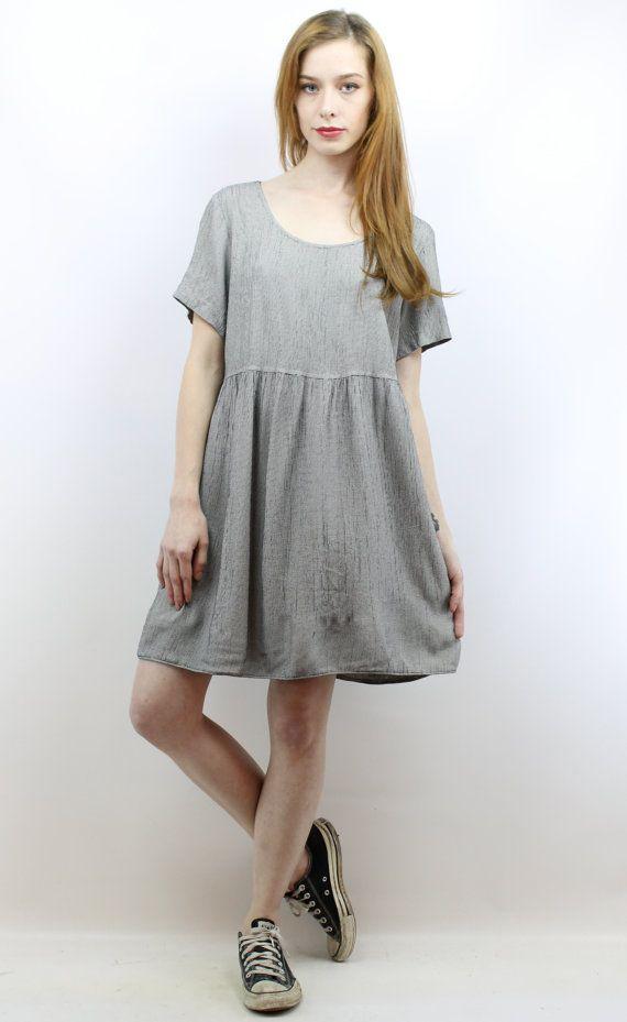 Houndstooth Dress 90s Babydoll Dress 90s Grunge Dress by shopEBV