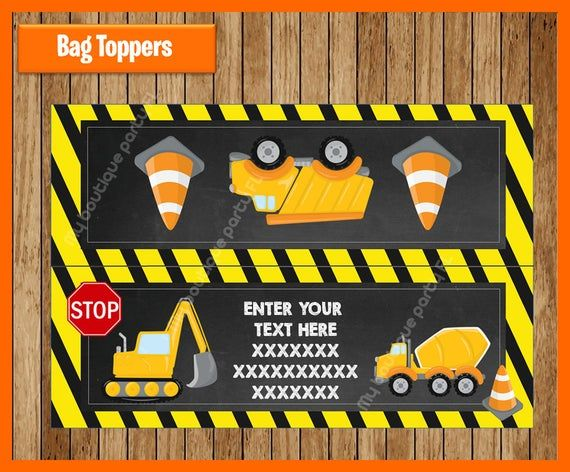 Instant Download Printable  Editable Construction Vehicle Valentine/'s Day Treat Topper
