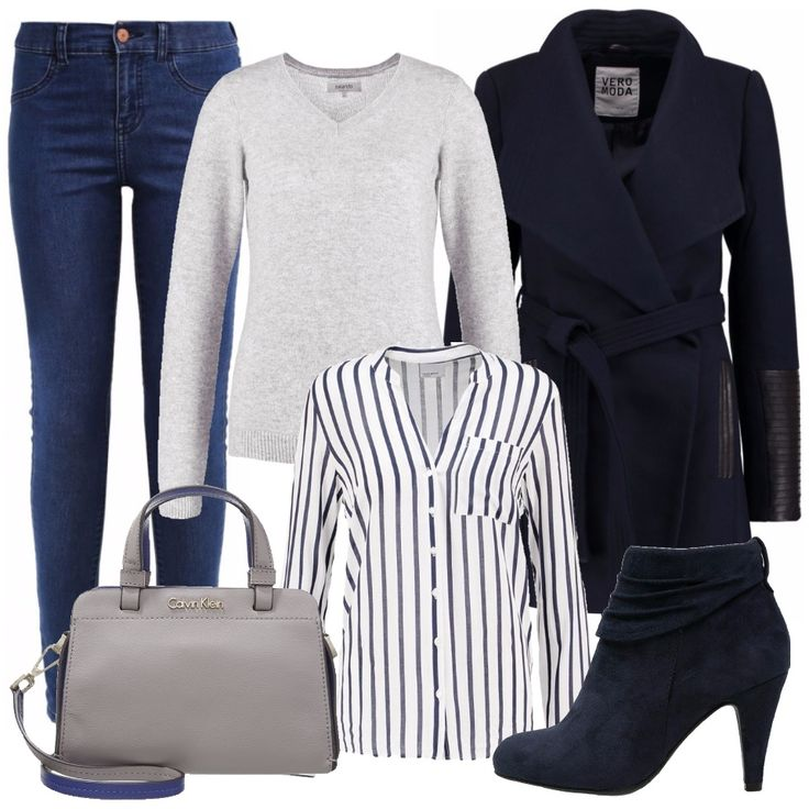 Un look semplice, sobrio, ma alla moda: jeans skinny blu con camicia bianca a righe blu verticali e pullover in lana grigia. Per uscire un cappotto blu in lana con cintura stretta in vita dal dettaglio in pelle nera sulle maniche, di grande tendenza. Ai piedi uno stivaletto blu scamosciato con tacco. Laccessorio è una borsa a braccio, ma con tracolla, firmata Calvin Klein, in pelle grigia con interni blu. Un outfit ideale per le commissioni di tutti i giorni, per lufficio, per un colloquio…