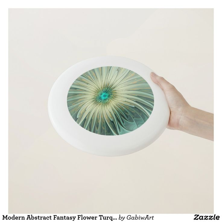 Modern Abstract Fantasy Flower Turquoise Wheat Wham-O Frisbee