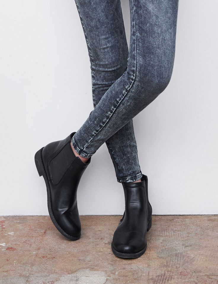 All Jennyfer ✓ Bottines femme, noir, forme chelsea, simili cuir,  empiècements élastiqués chevilles.