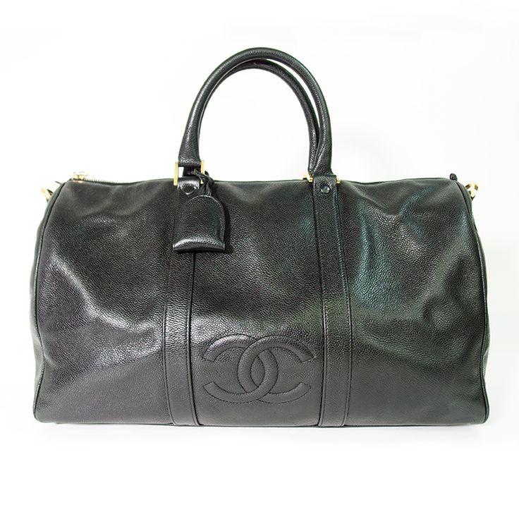 【中古】CHANEL(シャネル) キャビアスキン ボストンバッグ ココマーク ブラック/夫なキャビアスキンのボストンバッグ。出張や旅行にも重宝します。/新品同様・極美品・美品の中古ブランドバッグを格安で提供いたします。