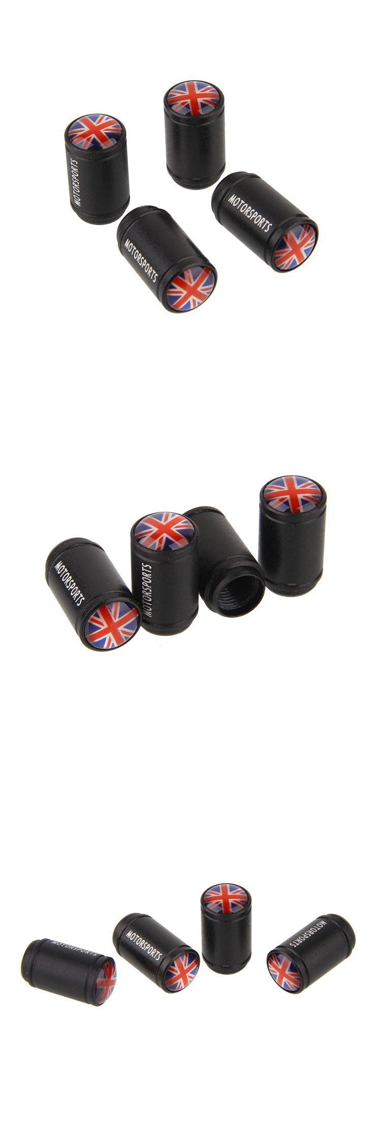 England Flag Logo Black Aluminum Alloy Polish Car Wheel Tire Valve Caps Auto Tyre Air Stem Cap For MINI