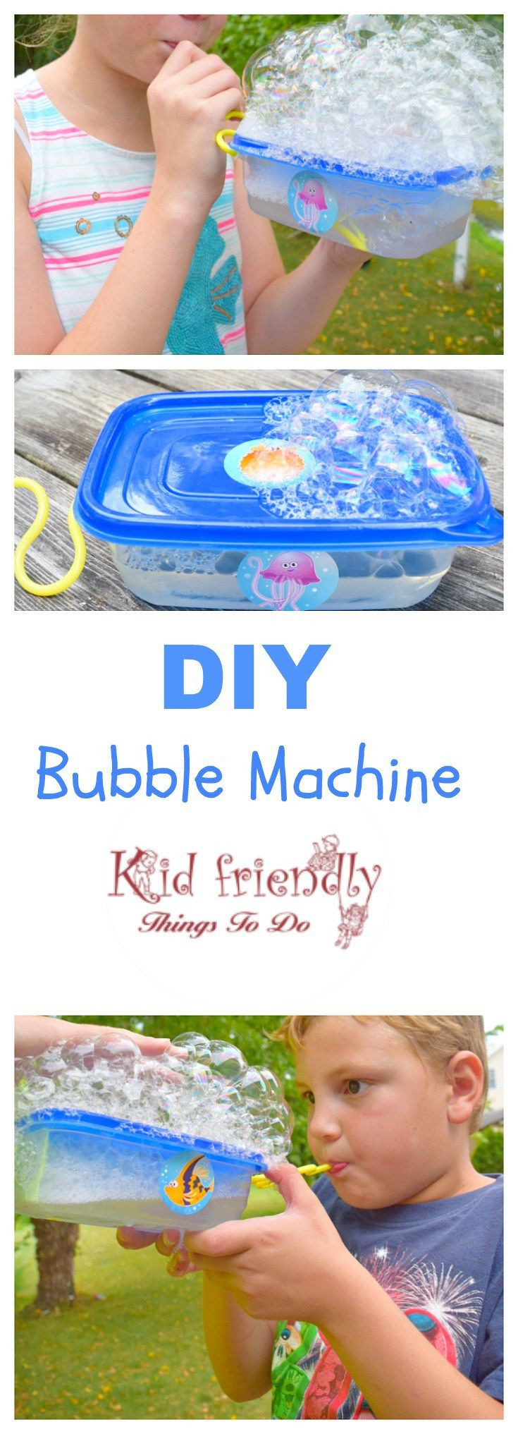 DIY Bubble Making Machine for Kids to Play With - The kids can't get enough of these! Great for parties or summer fun! KidFriendlyThingsToDo.com
