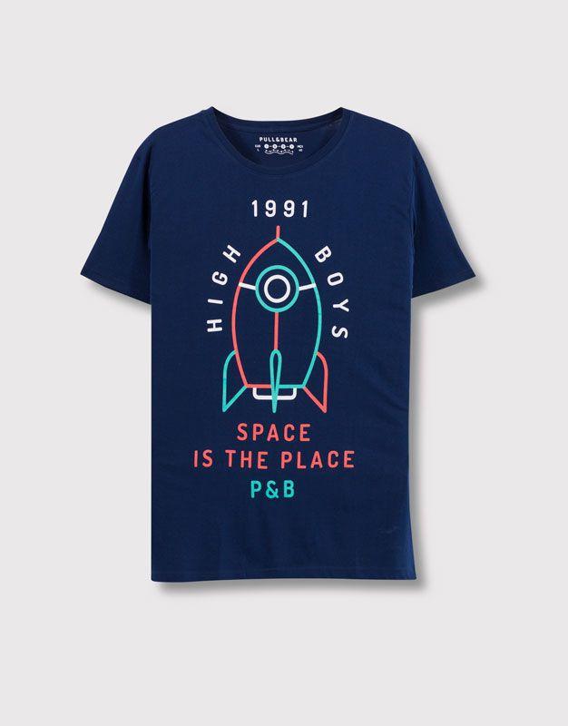 Pull&Bear - hombre - camisetas - camiseta print delantero - marino - 09237505-I2016