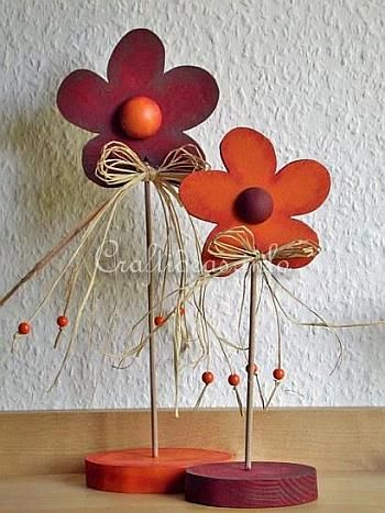 Free Wood Crafts and Patterns - Wooden Flowers Decoration
