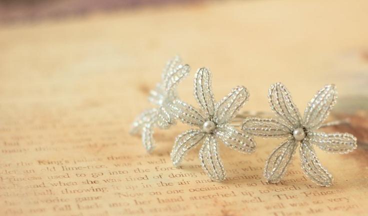 Snow Drop  - French Beaded Flower Hair Pins. $15.00, via Etsy.