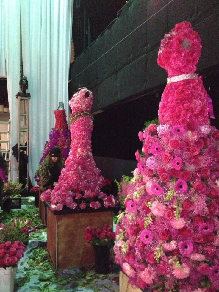 Floral mannequins created for a French fashion inspired Bat Mitzvah