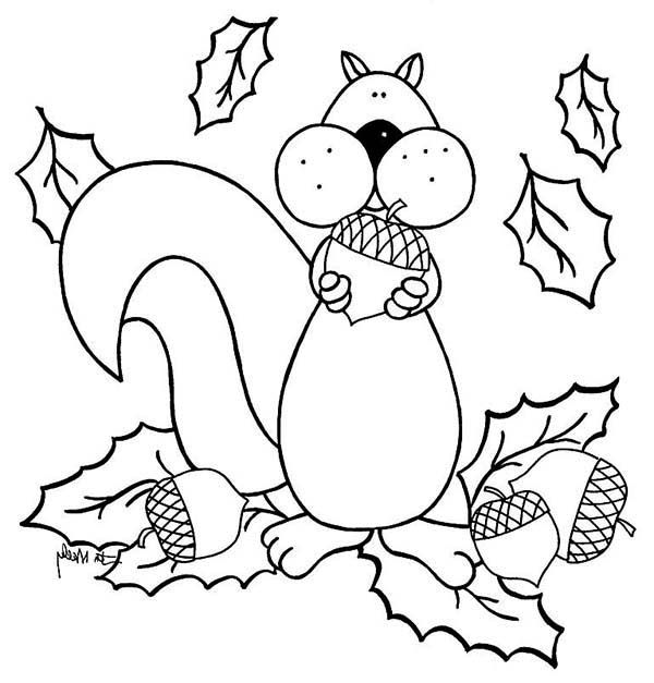 squirrel love eat acorn coloring pages - September Coloring Pages