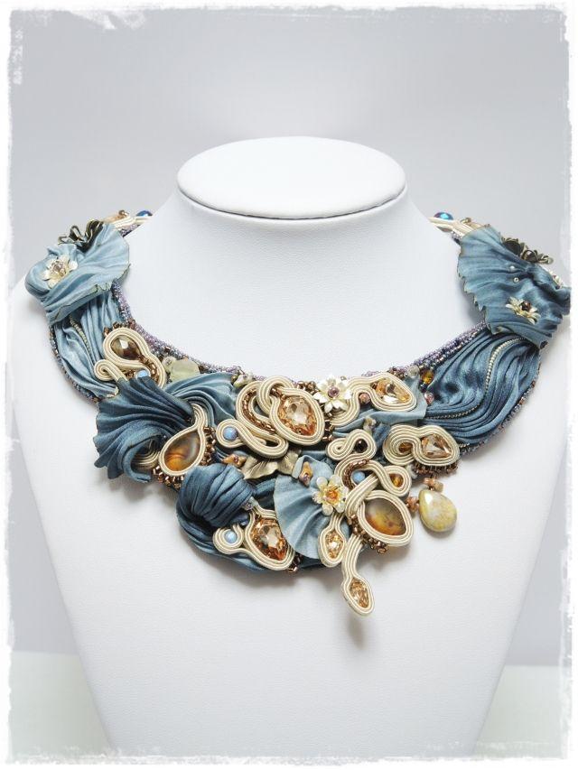 絞りシルク ソウタシエネックレス 「送料無料」 shibori silk &soutache necklace Wave C000034