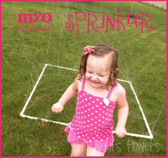 DIY sprinkler--for kids to play in or lightweight to pull around the yard to water it