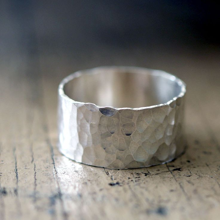 Hammered Wide Band Wedding Ring from Praxis Jewelry