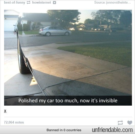 Polished my car too much, now it's invisible