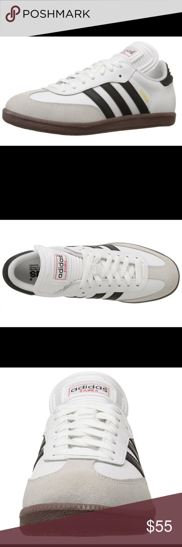 Adidas sneakers - white sambas size 7 M / 9 W Never worn, perfect condition, white sambas with an off-white toe, black stripes and neutral sole. Sambas are unisex and are sold in men's sizes. Adidas Shoes Athletic Shoes