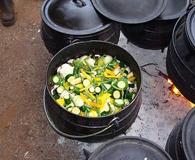 A beautiful vegetable pot with carrots, potatoes, patty pans, baby marrows, cauliflower, fresh cream, garlic, butter, spices and mushrooms.  http://www.onstravelclub.com ◘ ◘ ◘ ◘ ◘ ◘ Ons Travel Club About | South Africa | Touring | Airport Shuttling | Day Trips  | Weekend Breaks |