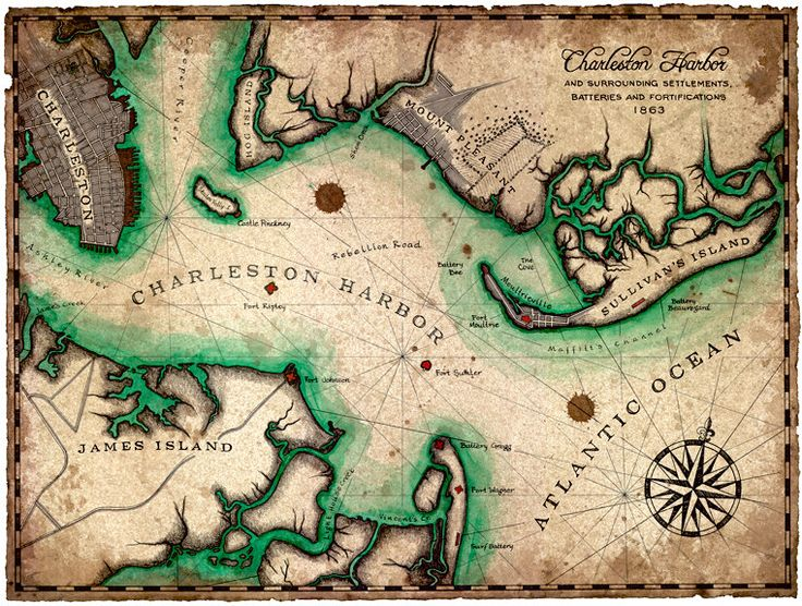 Charleston Harbor Artwork, Maps of Charleston SC, Civil War Era Maps, Charleston, South Carolina, Fort Sumpter, Mount Pleasant, Pinckney Map by GeographicsArt on Etsy https://www.etsy.com/listing/199653745/charleston-harbor-artwork-maps-of