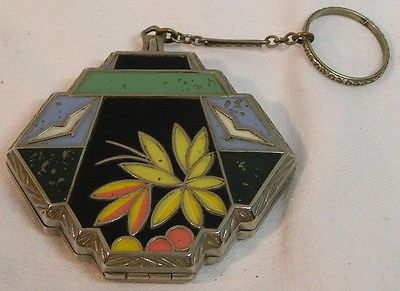 Vintage 1920s Enamel ART DECO Flapper's Style Compact with Finger Ring