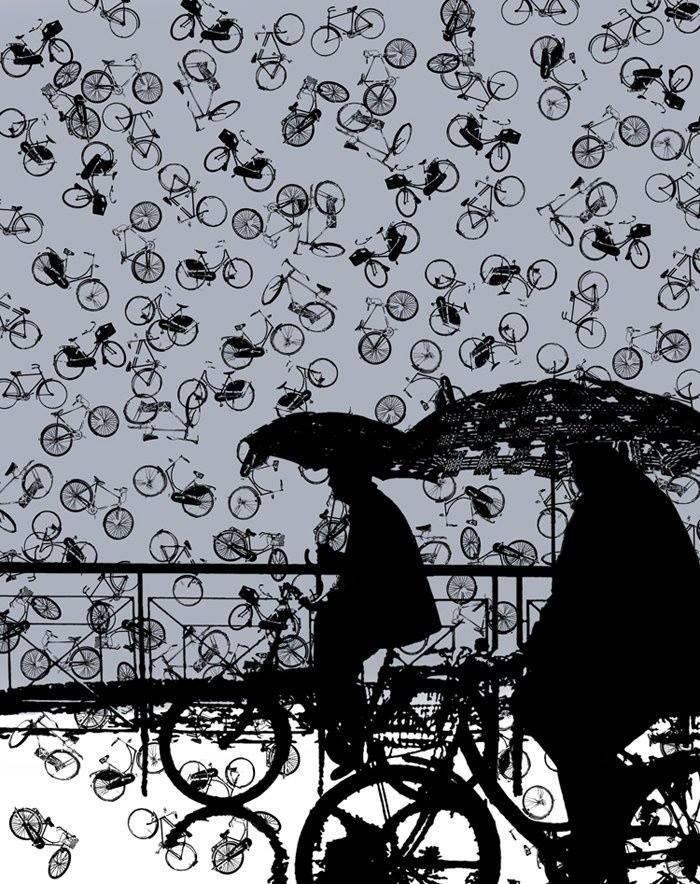 A esta hora hay lluvia, pero de bicicletas sobre Bogotá.