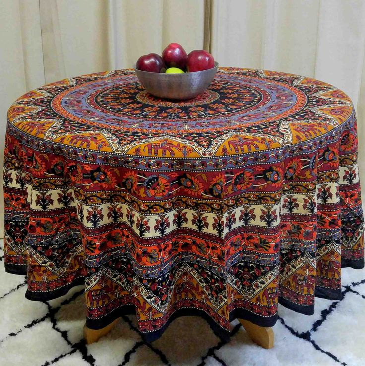 Handmade 100% Cotton Mandala Floral Elephant Tablecloth 76 Inch U0026 90 Inch  Round