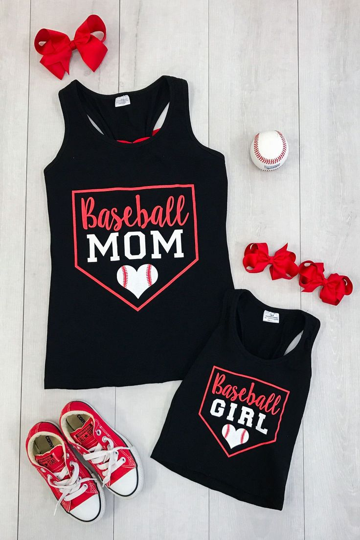 """Mommy & Me Matching """"Baseball Mom"""" and """"Baseball Girl"""" tank tops are great quality and stunning! Perfect for Summer!"""