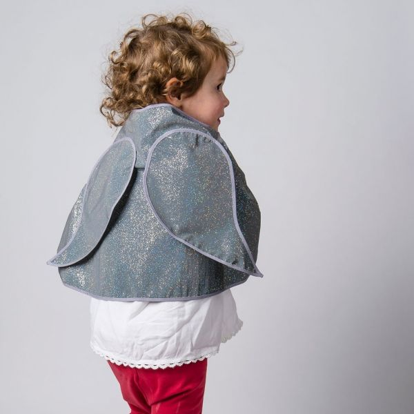reflective (glowing in the dark) angel wings cape for kids for safer school run, cycling or scooting in the darker hours- fun and safer for kids by henrichs.co.uk photo credit by our retail partner: cyclechic.co.uk