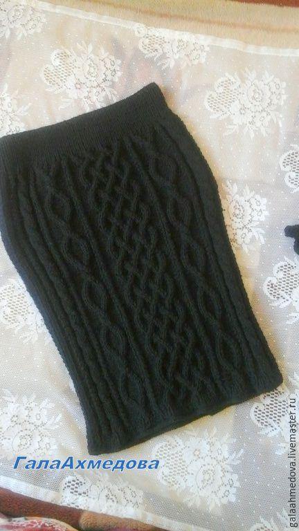 """Купить Вязаная юбка """"Переплетения""""ручной работы - черный, юбка, вязаная юбка, теплая юбка"""