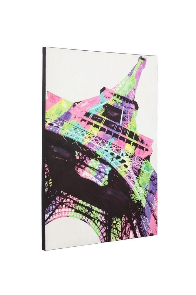 Breng de romantische sfeer van Parijs in je woonkamer met dit mooie schilderij van de Eiffeltoren. Dit prachtig kleurrijk schilderij bedrukt op canvas doek is gespannen op een houten frame.  Het schilderij is gedetailleerd met kwast voor een handgeschilderd effect.