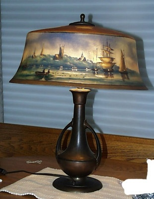 Original Pairpoint New Bedford Harbor Scene Reverse Painted Lamp & Base Working  $3,995.00: Lights, Paintings Lamps, Antique Lamps, Antiques Lamps, Coast Massachusetts, Bedford Harbor, Based Work, Lamps Based, Harbor Scene
