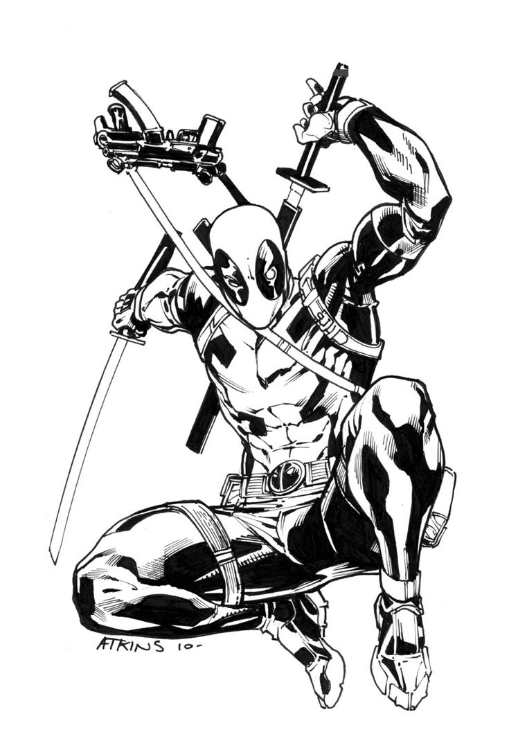 Coloring pages deadpool - Deadpool Sketch For The Same Guy Who Got The Hulk Aswell I Absolutely Love This Character I Woud Jump At The Chance To Draw A Deadpool Book Like You