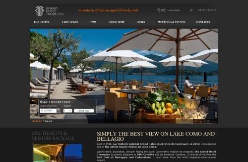 Beautiful use of large background images.  3 language options, Italian, French, English Grand Hotel Tremezzo, Lake Como http://www.grandhoteltremezzo.com/