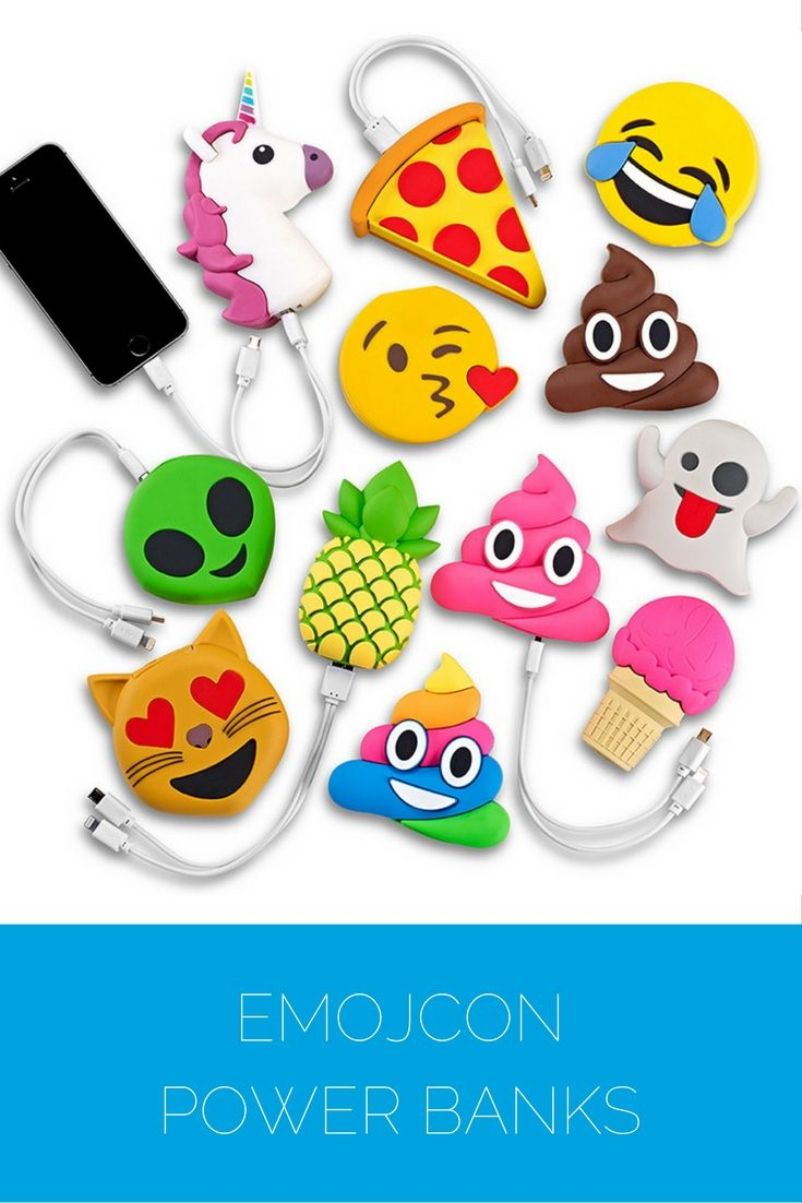 Emoji Power Banks – this battery backup is the cutest way to charge up your smart phones and tables.