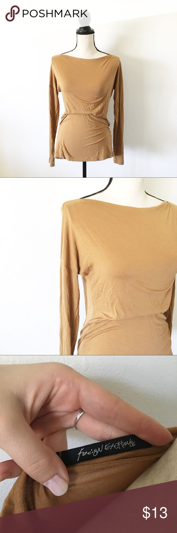 Camel Long Sleeve This item is so cute and is perfect for fall! It is in amazing condition, no flaws. No trades please. Bundle to save x Foreign Exchange Tops Tees - Long Sleeve