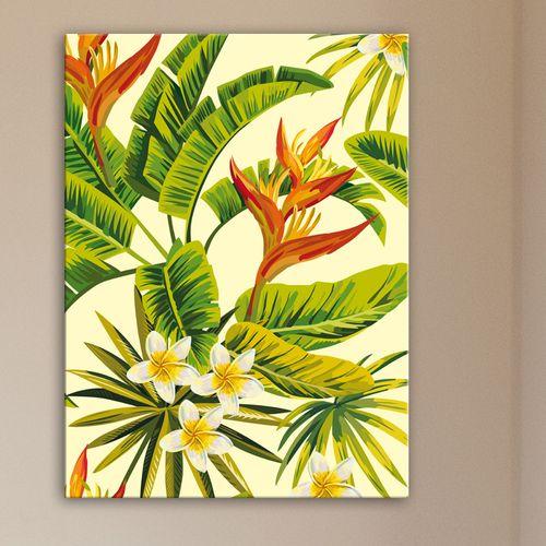 La nature exotique s 39 entrem le dans ce tableau design fleurs de frangipanier et oiseaux de - Initiatives fleurs et nature ...