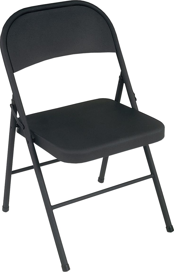 Cosco all steel folding chairs are an essential for entertaining. Featuring sturdy steel construction and non-marring leg tips, they fold up tight and compact for easy storage. Stock up now and you'll be sitting pretty when company comes. This folding chair is cost effective with its long lasting tube-in-tube reinforced frame and low maintenance, long lasting powder coat frame black finish. Chairs have a strong, cross brace construction and a comfortable, contoured seat and back.