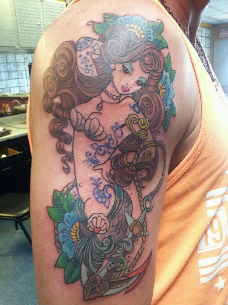 George 39 s new badass tat mermaid tattoos tats for Mermaid tattoos pinterest