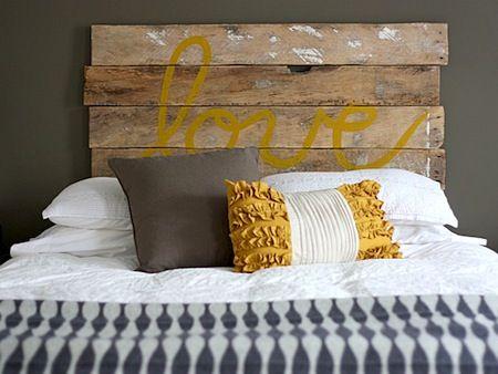 Upcycled wood bed headboard.