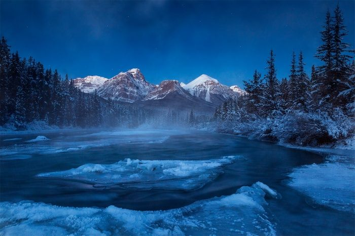Clouds Night Landscape Forest Mist Trees Lake Ice Snow Mountains Winter Nature Canada Alberta Wallpaper Lake Landscape Natural Scenery Mountains