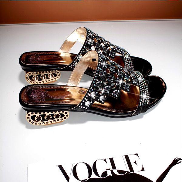 2015 verano nuevo ocasional sólido brillo open-toe sandalia de las mujeres med talón sandalias de las mujeres Cómodo y transpirable mujeres shoesE2039